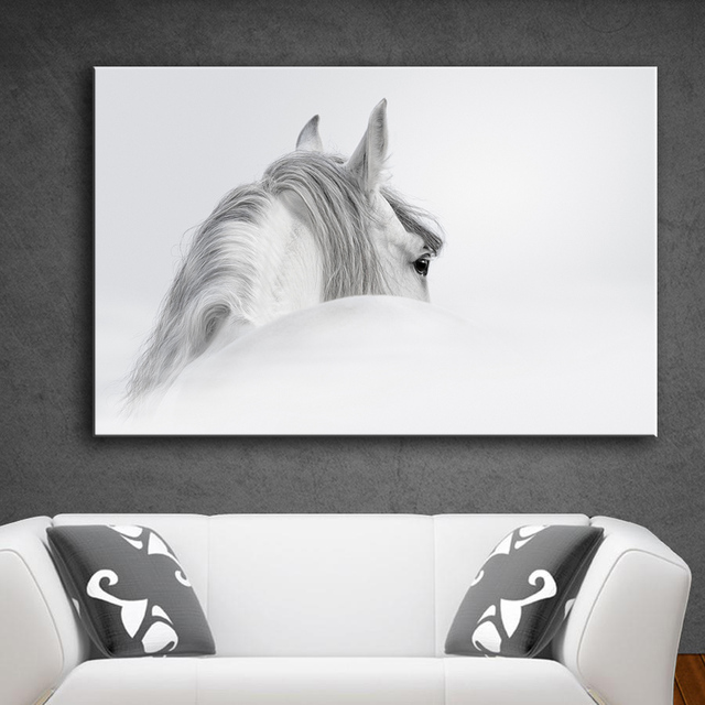HDARTISAN Wall Art Pictures Canvas Art Prints Animal Painting White Horse  (3) For Living