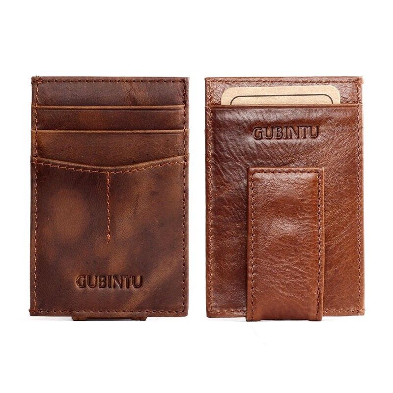 2016 Men Women 100% Scrub Genuine Leather Magnetic Money Clip Wallet ...