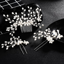 SA SILVERAGE Pearl Wedding Hair Combs for Woman Headwear Set 3-pieces Hair Combs Sets Bridal Headdress Trendy 2018 New(China)