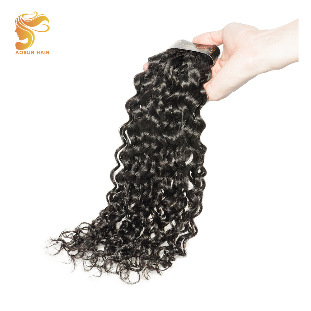 AOSUN Peruvian Deep Wave Bundles 100% Human Hair 8-28 Natural Black Color Can Be Dyed 1  ...