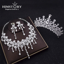 HIMSTORY Elegance Wedding Bridal Necklace Hair Accessories Jewelry Set Marriage Crystal Crowns Tiaras Necklace Earring Set