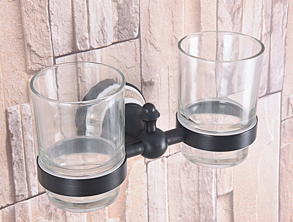 Oil Rubbed Bronze Wall Mounted Double Toothbrush Holders With 2 Glass Cups Tooth Cup Holders For Bathroom Accessories zba708 image