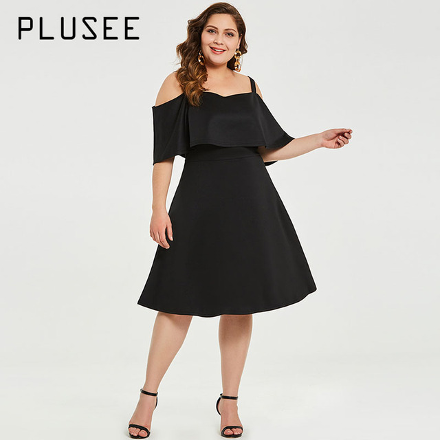 Plusee Plus Size 3xl Dress Women Summer Black Ruffle Sleeve Plain