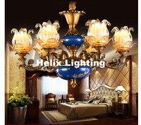 Free Shipping Luxury Chandeliers Base Lustres de Cristal Modern AC Blue Antique Lamp Zinc Alloy Living Room LED Chandelier Lamp