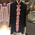 ВЫСОКОЕ КАЧЕСТВО 2017 Новая Мода женская Взлетно-Посадочной Полосы Dress Элегантный Черный С Длинным Рукавом Специальный Воротник Милый Розовый Лук Русалка платья