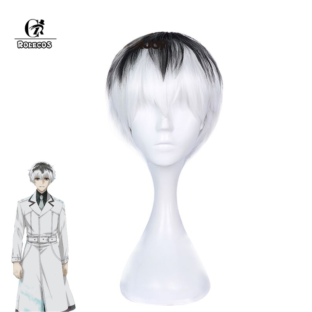 ROLECOS Tokyo Kushu:re Cosplay Headwear Haise Sasaki Cosplay Synthetic Hair Short Black and White Hair Accessories Tokyo Ghoul