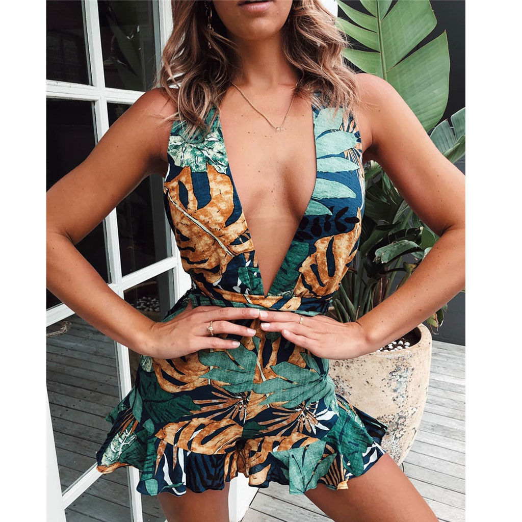 Rompers Jumpsuit Overalls Backless Boho Prints Women Sleeveless  title=