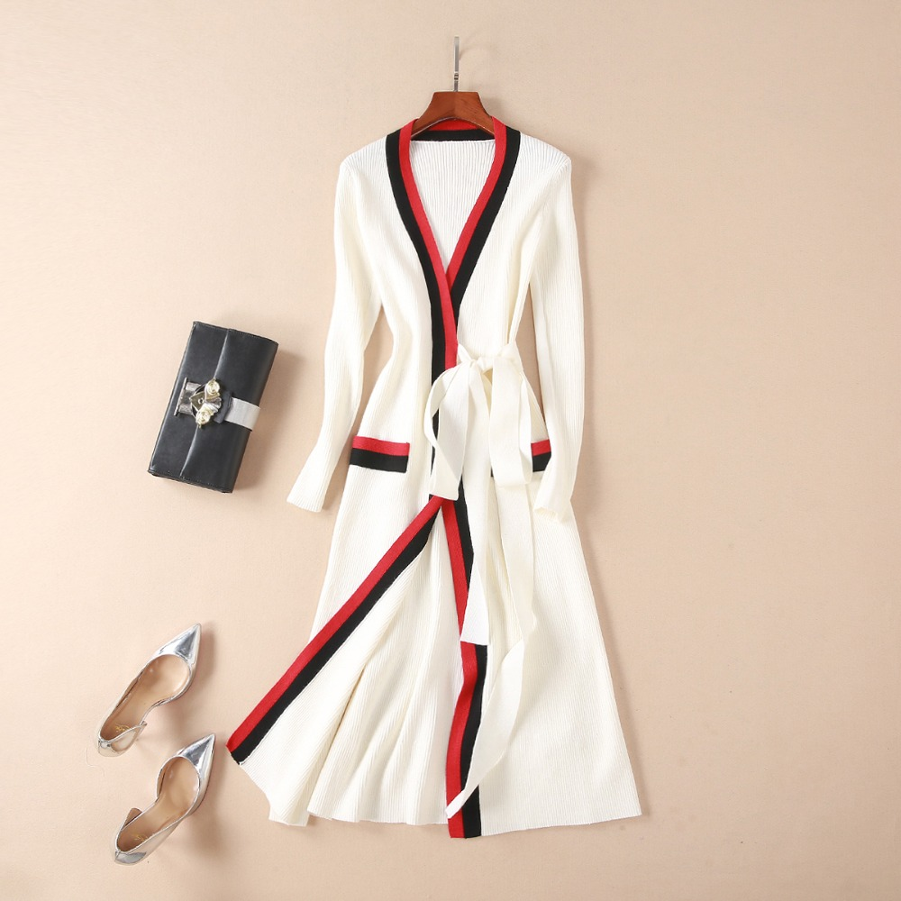 Autumn Spring Elegant Women Sexy V neck Solid Color Black White Red Knitting Cotton Cardigan Long