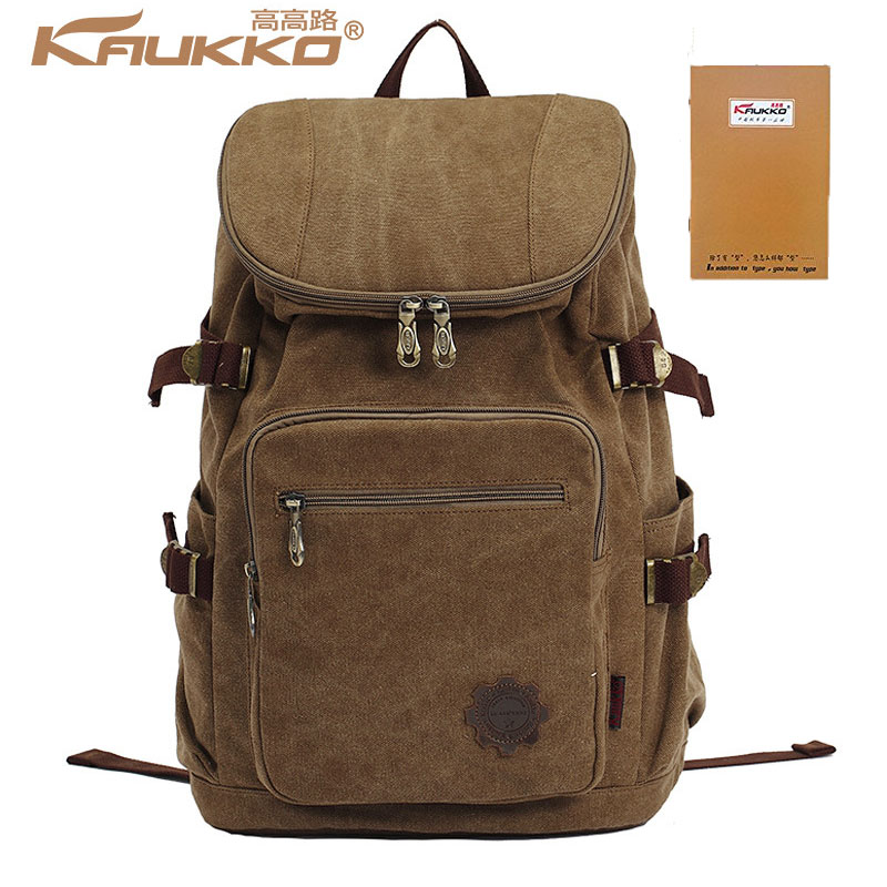 Kaukko Large Capacity Shoulder Bag Mens traval Canvas Backpack Unisex Bags for Teenager School Knapsacks