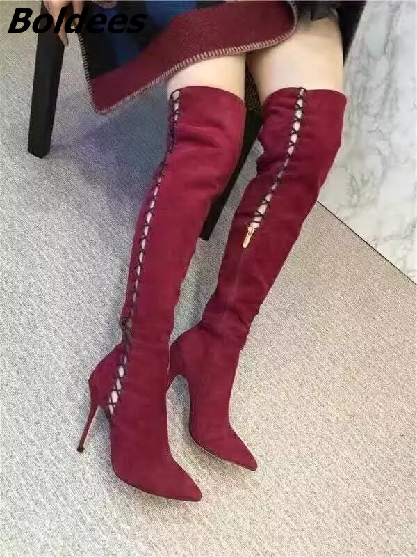 Glamorous Burgundy Suede Rope Cross Strap Long Booties Women Fancy Cut-out Stiletto Heel Pointed Toe Over The Knee High Boots ледянка 1toy cut the rope cut the rope