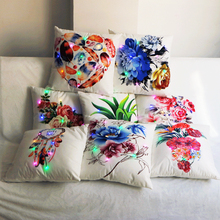 Vintage Flower led Cushion Cover Pillowcase Lighting Pillow Christmas Party Sofa Decorative covers Throw