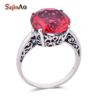 Szjinao Luxury brands women Kate crystal wedding jewelry red stone princess Diana's engagement ring real 925 sterling silver