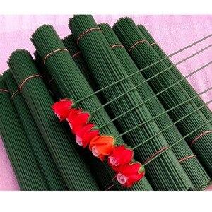100 unids/lote 15cm flores tallos de papel/plástico verde cinta Floral Alambre de hierro Artificial flor tallos artesanía Decoración