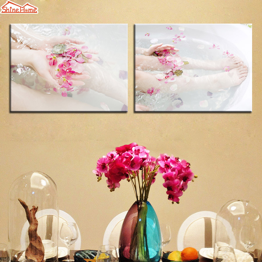 ShineHome 2pcs Wall Art Canvas Printing Painting Spa Body Nail Salon ...