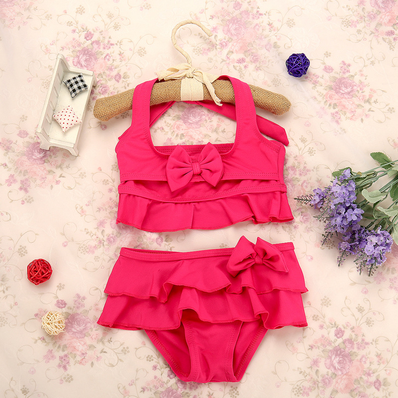 2-7Y Cute Baby Girls Bikini Set Kids Swimwear Two-Piece Grils Swimsuit Rose,Green,Yellow Summer Beachwear Swimming in Sonkpuel