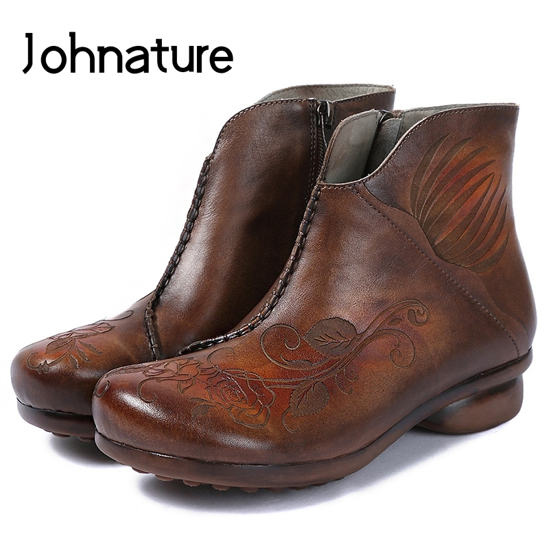 Johnature 2019 New Autumn Winter Genuine Leather Floral Round Toe Zipper Sewing Retro Casual Ankle Platform
