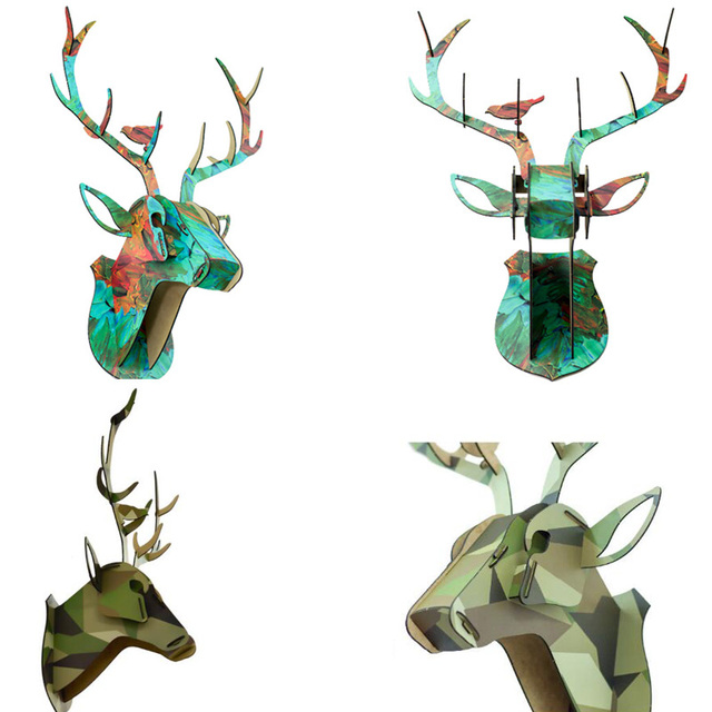 DIY 3D Wooden Animal Deer Head Art Model Home Office Wall Hanging Decoration Storage Holders Racks Home Decoration Accessories 5
