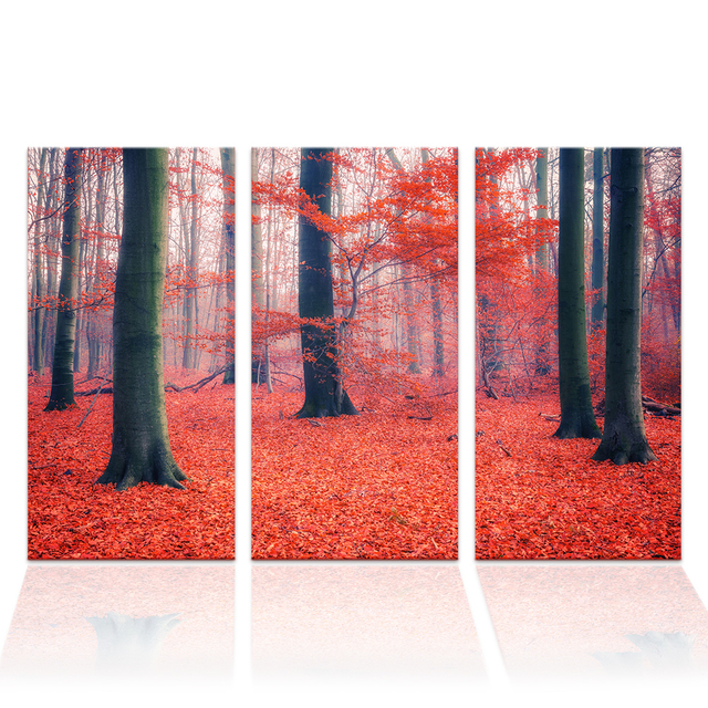 3 Pieces HD Printed Autumn Forest Landscape Painting Nature Scenery ...