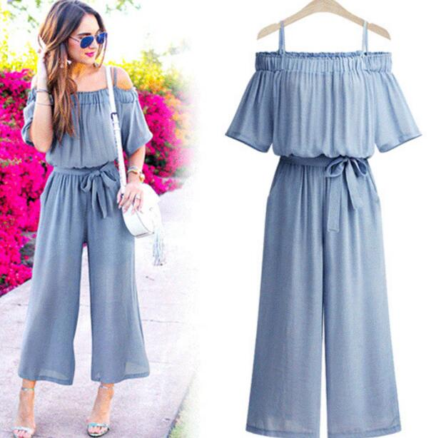 Women ruffles Plus Size sling jumpsuits ladies summer Fashion Casual style drawstring bow tied Loose overalls trousers in Jumpsuits from Women 39 s Clothing