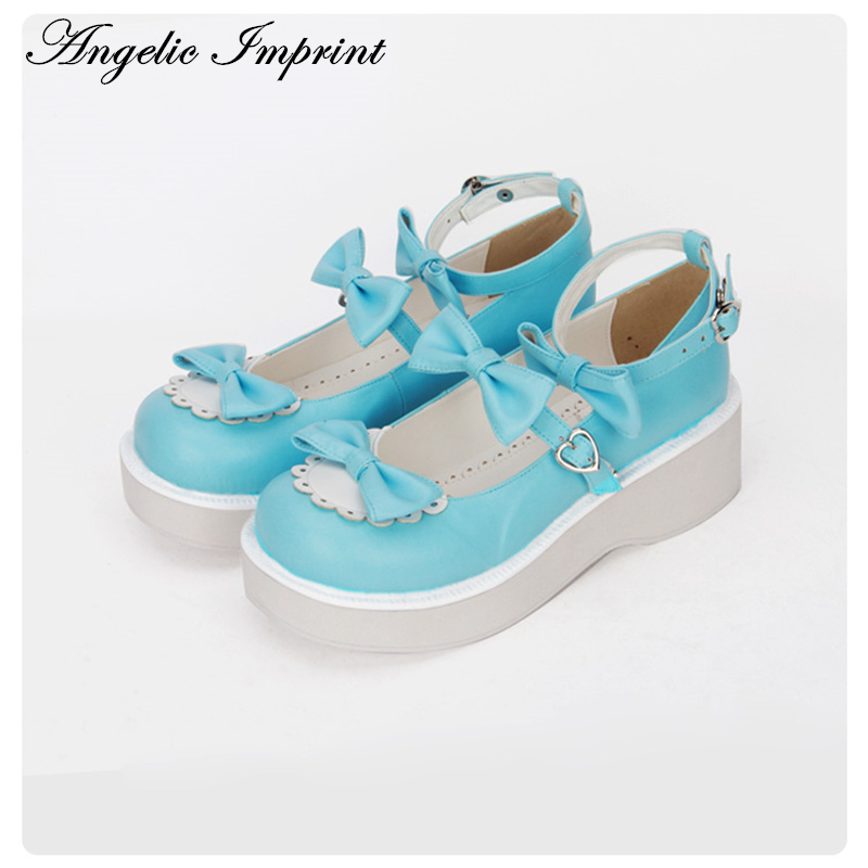 5cm Fantasy High Heel Big Bow Princess Lolita Shoes Blue Sky PU Leather Ankle Strap Pumps Platform Shoes blue sky чаша северный олень