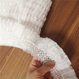 Image 5 - Fita de bordado com elástico de 7cm, laço branco de largura, com babado, costura, saia, roupas de costura, aplique, decoração guipure