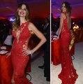 Encaje Sexy Sirena Vestidos de La Celebridad Sin Espalda Pura Oscar Jennifer Lopez Alfombra Roja Vestidos de Partido Vestidos de Noche Vestido De Festa