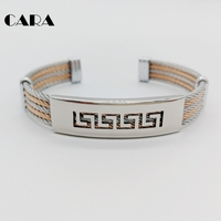 CARA Multi Colors 5 Rows Cable Bangles Men 316L Stainless Steel Cable Wire Bracelet Bangle Mens