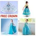 2015 Vestido da menina Elsa Anna Vestido de princesa crianças vestidos de verão crianças cosplay fantasia infantil Vestido