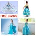 Vestido 2015 de la muchacha Elsa Anna princesa dress costume party kids viste los niños del verano cosplay fantasia infantil Vestido