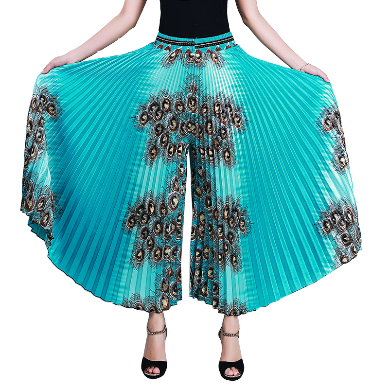 Summer Pleated   Pants     Wide     Leg     Pants   Women Loose Casual   Pants   Female High Waist Ladies   Pant   2019 Spring Trousers Split skirt