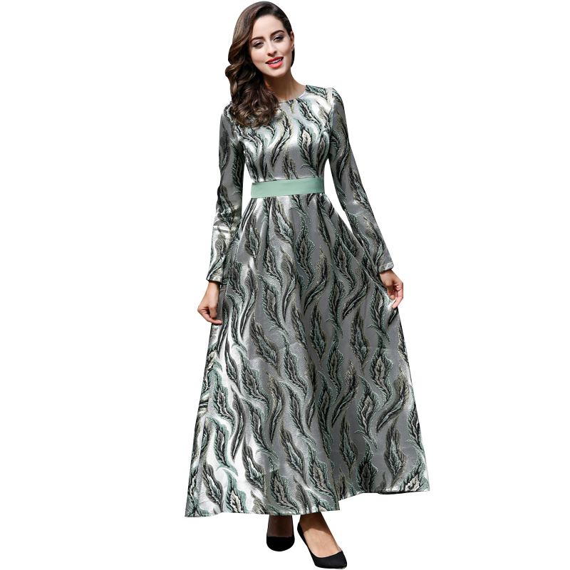 Nouvelle Arrivée Qualité Broderie De Luxe Longue Robe Femmes À Manches Longues Vintage O-cou Plus La Taille Maxi Robes de Soirée Longue Robe 5947