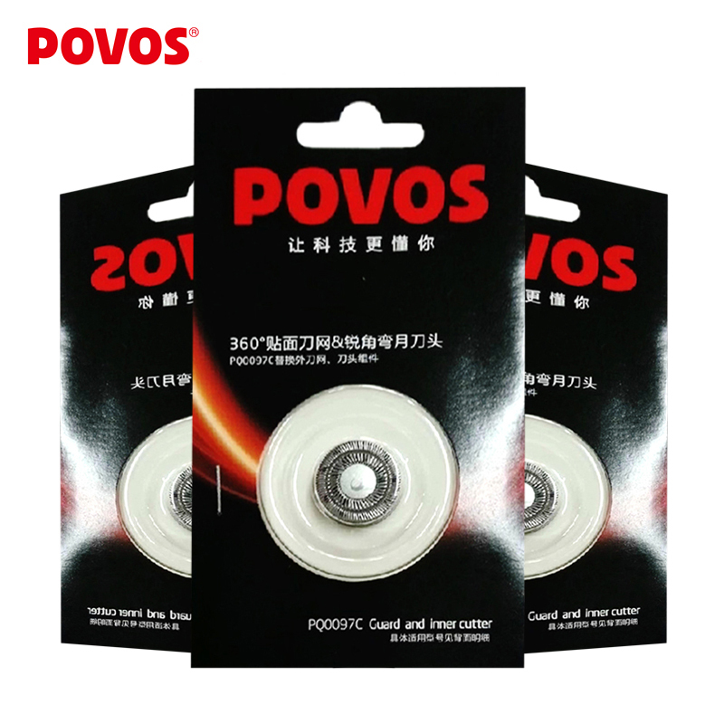 POVOS Electric Shaver Orginal Superior Replacement Blade Razor Blade Head for Men 3 Pcs PQ0097C men electric shaver razor blades the blade cutter head original rq12 replacement shaver head for 3d rq32 rq10 rq11 rq12