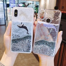 Купить с кэшбэком Cartoon Whale Coral For xiaomi redmi 5 plus Note 5 Dynamic Liquid Quicksand Phone Case For xiaomi Mi 5X MIX 2S 3 6x Cover Cases