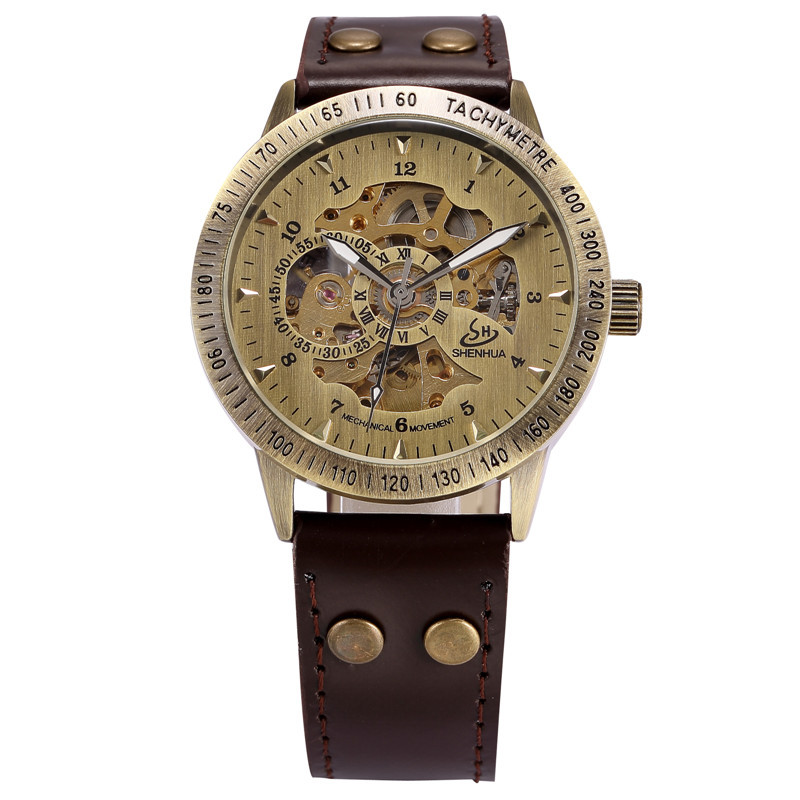 SHENHUA Bracelet Watch Bronze Automatic Skeleton Mechanical Watch Men Steampunk Retro Analog Wristwatches Horloges Mannen