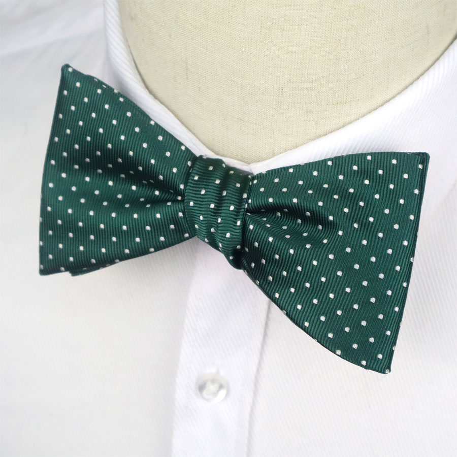 GHLB08 Adjustable Bowties Green White Polka Dot Self Bow Tie Men's Silk Jacquard Woven Butterfly For Men Classic Wedding Party
