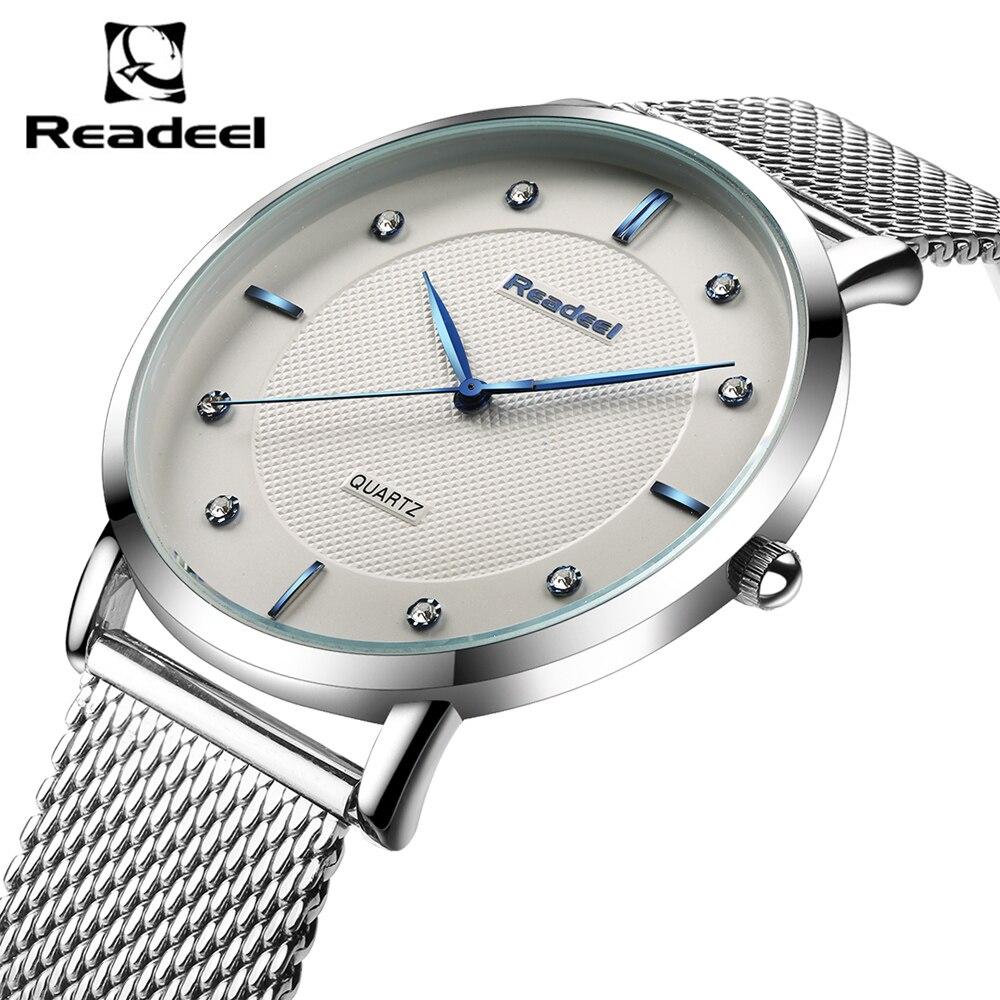 Prix pour Readeel 2016 Top Marque De Luxe Hommes de Montres Hommes Montres Bracelet En Acier Inoxydable Robe D'affaires Montre Reloj Hombre Horloge Hommes