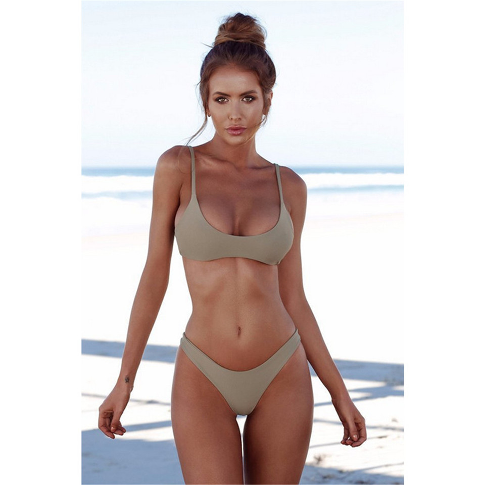 Sexy Thong Bikini 2019 plus size Swimwear Women Brazilian Bikini Set Push Up Swimsuit Solid Beachwear Bathing Suit Biquini XXL-4