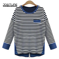 Womens T shirt Striped Blue Color 2018 Spring Autumn Female Knitted Tops Long Sleeve Back Zipper Ladies Loose Tees Plus Size 5XL