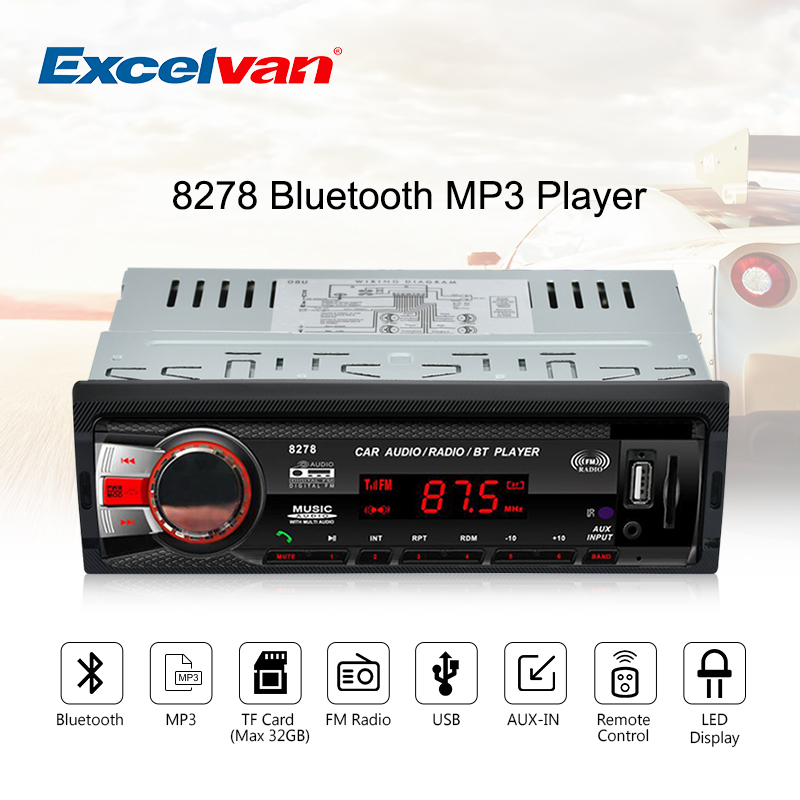 8278 car bluetooth media receiver 1 din 12v mp3 player fm radio led display support music. Black Bedroom Furniture Sets. Home Design Ideas