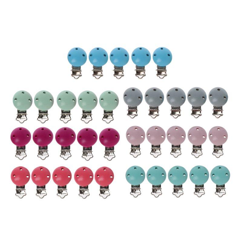 5 pièces en métal en bois bébé sucette Clips solide couleur supports infantile sucette fermoirs