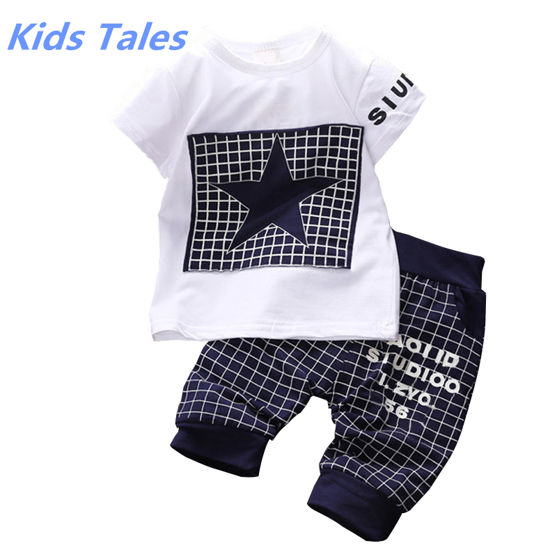 Baby Boy Clothes 2017 New Summer Children Clothing Sets T shirt+Pants Suit Clothing Set Star Printed Clothes Boys Sportswear