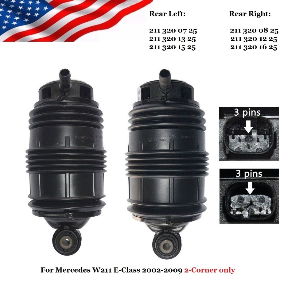 Rear Left +Right Air Spring 2-Corner Airmatic with ADS For Mercedes E Class W211 S211 E320 E500 2113200725 2113200825 цена