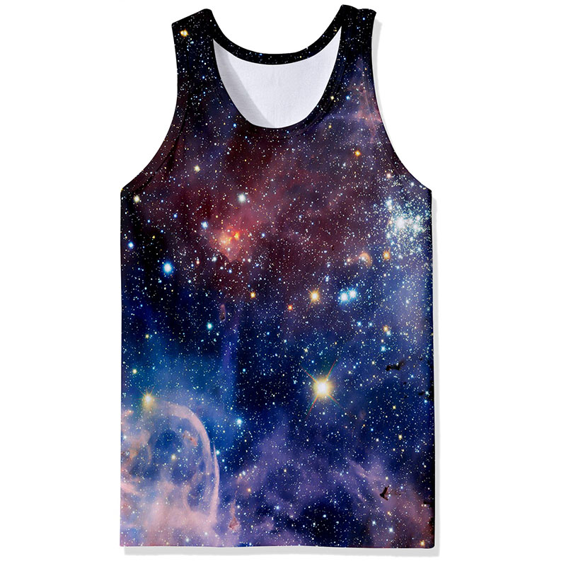 2019 Summer Fashion 3d Print Vest Men Cool Outer Space Universe Galaxy Funny   Tank     Tops   Male Sleeveless Tee
