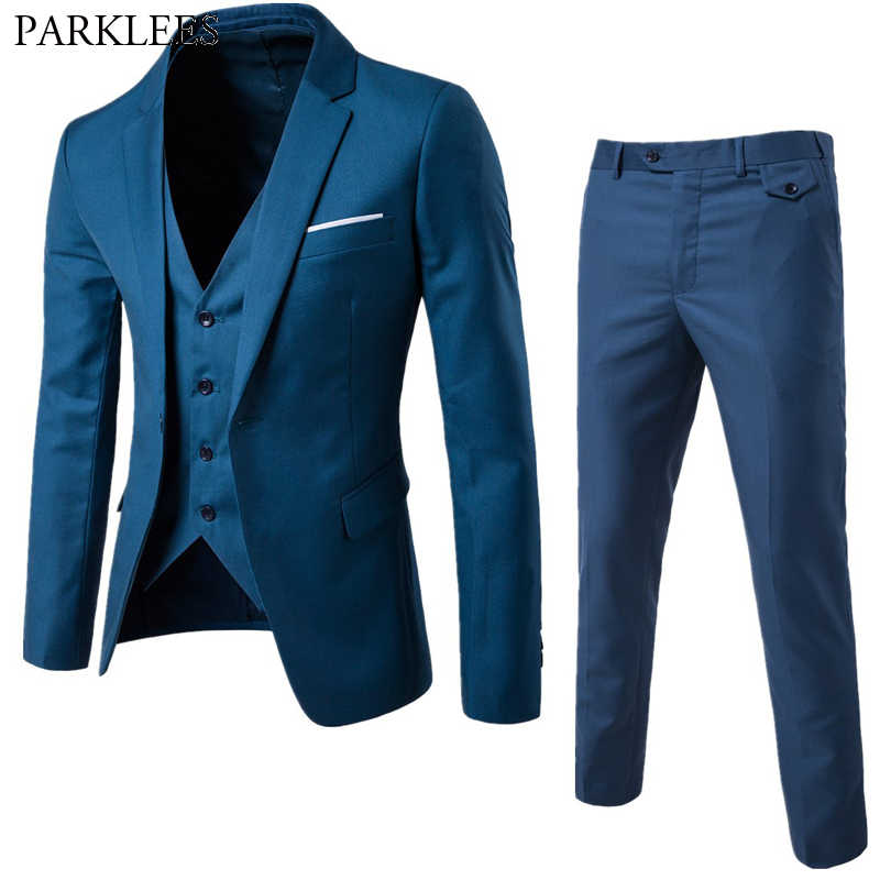 Men's Blue One Button 3 Pieces Suits Brand Slim Fit Business Grooming Mens Tuxedo Suit Blazer Jacket Coat+Trousers +Waistcoat