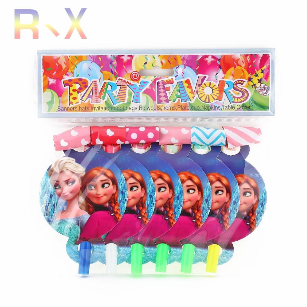 6PCS Elsa Hello Kitty Mickey Theme Blowout Plastic Party
