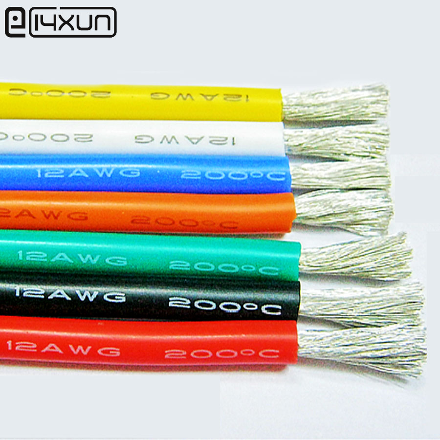 1meter Red + 1 metre Black Silicone Cable 10AWG 12AWG 13AWG 14AWG ...