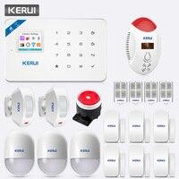 KERUI TFT Цвет Экран W18 Аварийная сигнализация wifi gsm безопасности дома приложение Управление светодиодный Дисплей голос Строб детектор угарног