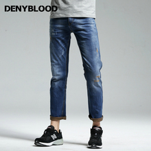 Denyblood Jeans Mens Stretch Jeans Double Colour Denim Slim Straight Distressed Jeans Ripped High Quality Vintage Pants 162045