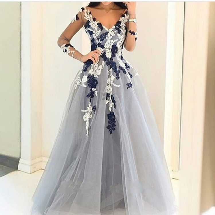 Gray Tulle Long   Prom     Dress   2019 Long Sleeves Flower V Neck Evening   Dress   Sexy Middle East Saudi Arabia   Prom   Party Gowns