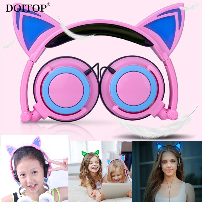 DOITOP Foldable Children Flashing Glowing Cat Ear Headphones Gaming Headset Earphone with LED light For PC Laptop Computer Phone foldable cat ear headphones gaming headset earphone with glowing led light for phone computer best halloween gift for girls kids